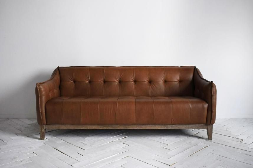 Perch Parrow Parker Three Seater Leather Sofa In Cocoa