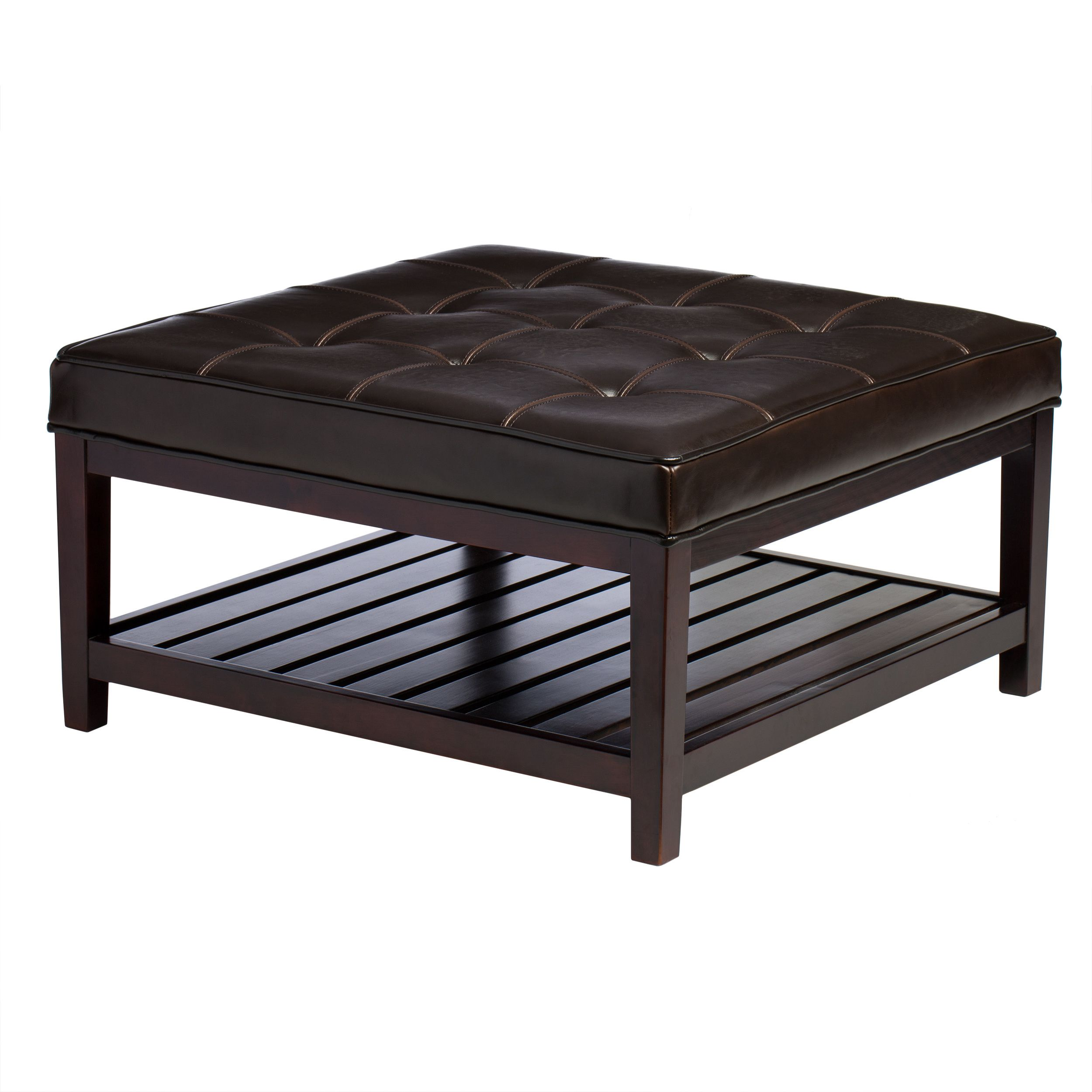 Hudson Dark Brown Leather Ottoman by I Love Living