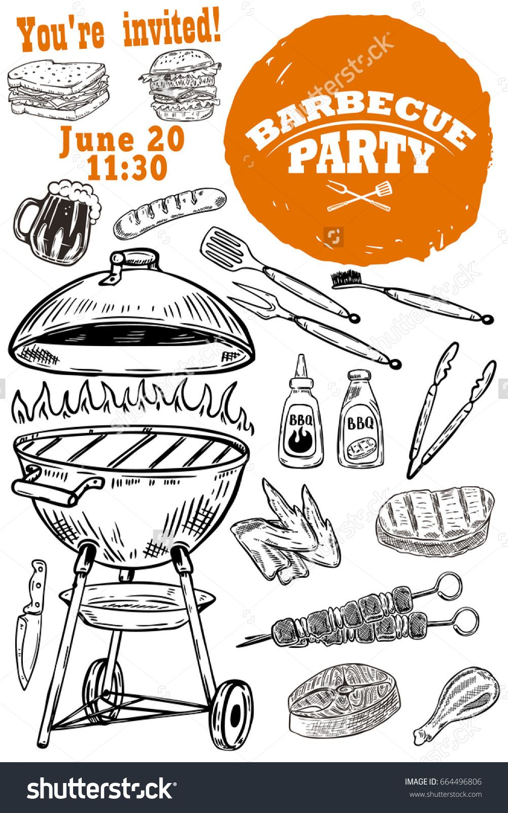Barbecue party invitation template hand drawn bbq and grill design barbecue party invitation template hand drawn bbq and grill design elements ctor illustration stopboris Gallery