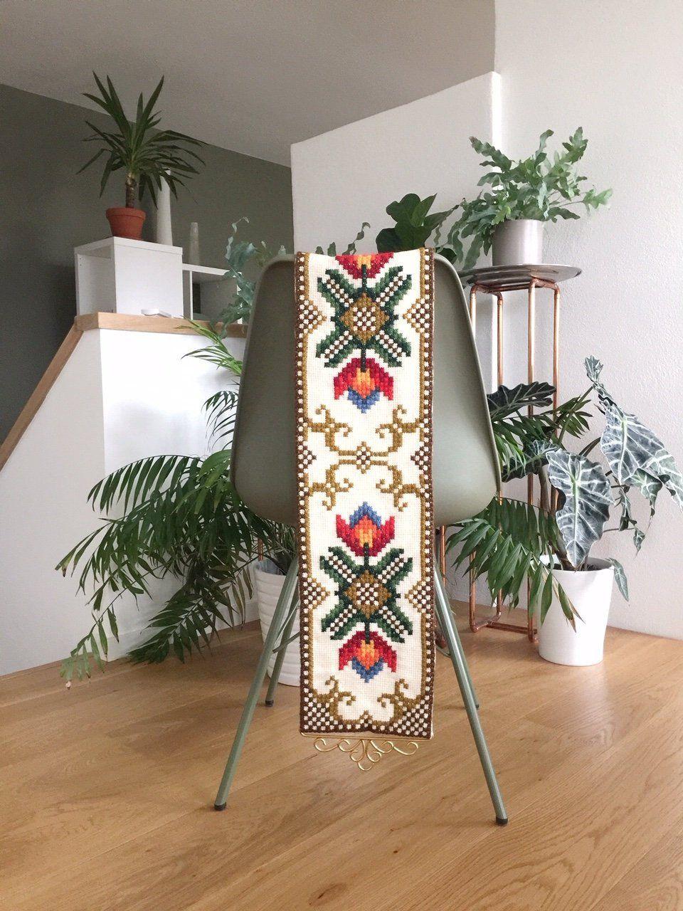 vintage norwegian tapestry vintage bell pull klokkestreng on hygge wall decor id=68753