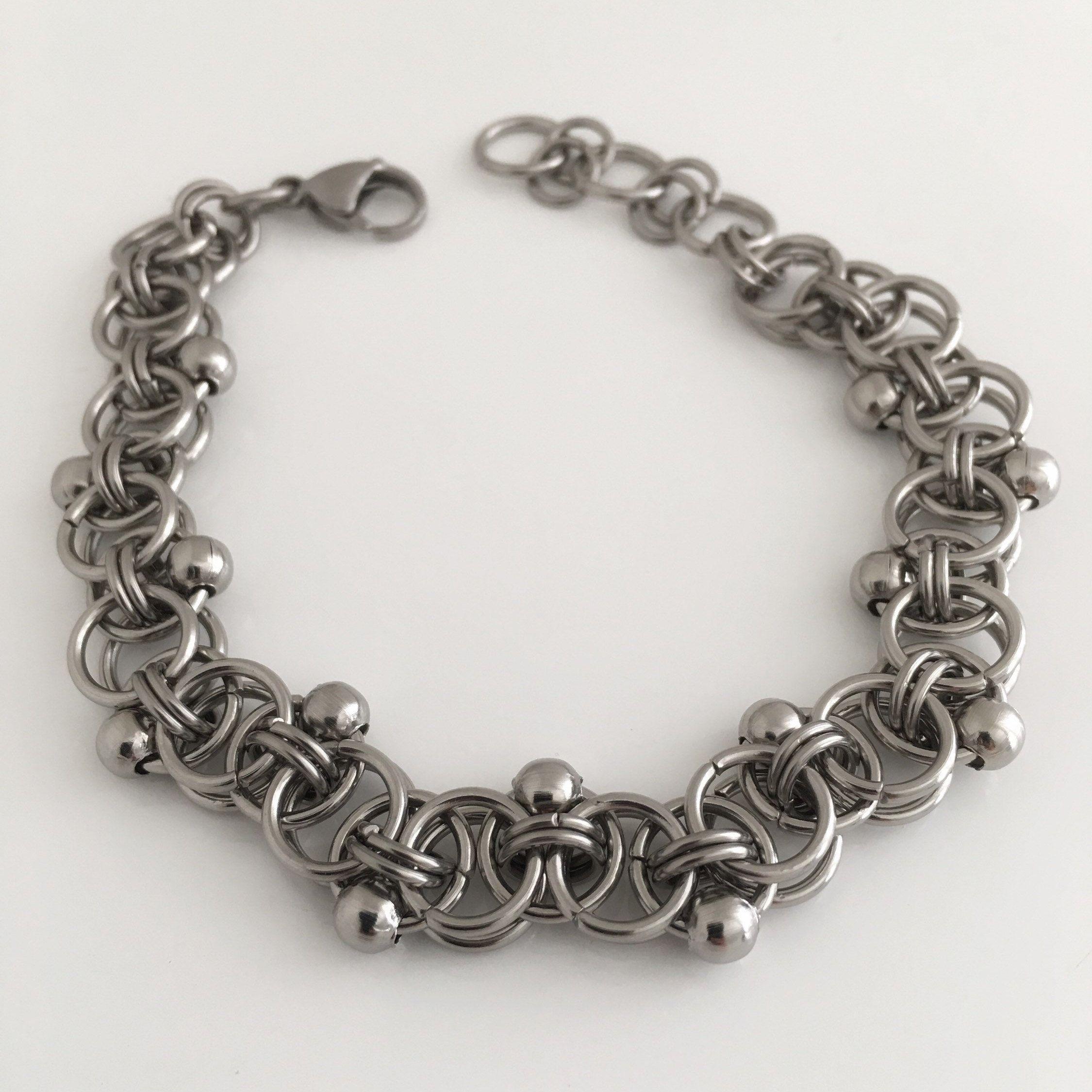 Silver grey steel bracelets for women stainless steel beaded