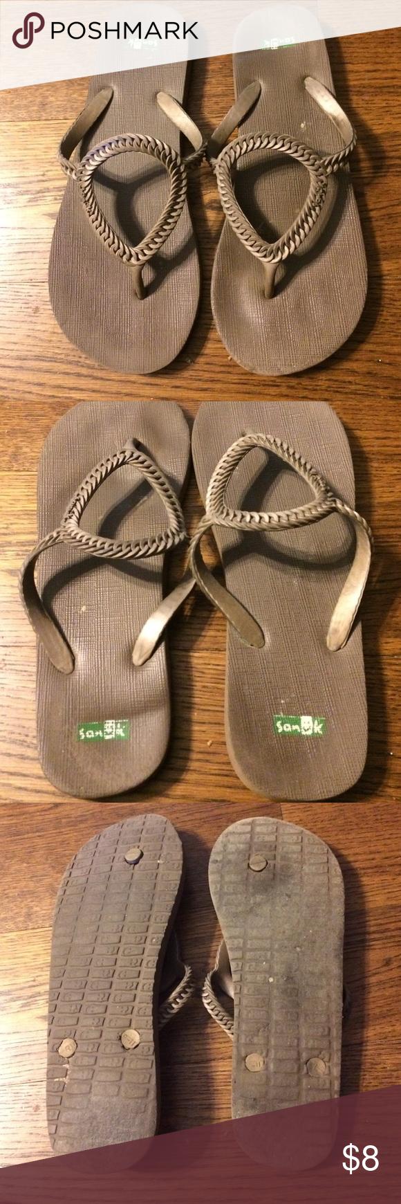 Brown Tan Sanuk Sandals Brown/tan colored Sanuk sandals. Size 9-11. But they fit like a true size 10. Sanuk Shoes Sandals