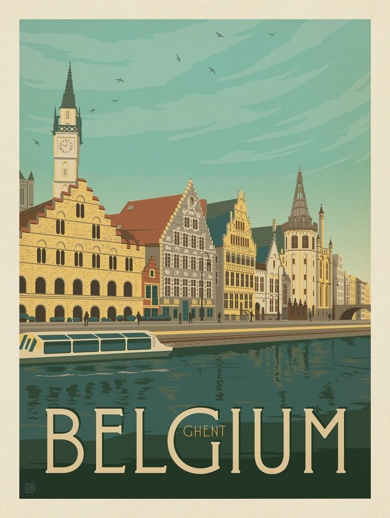 Anderson Design Group World Travel Belgium Ghent Belgium Travel Retro Travel Poster Travel Prints