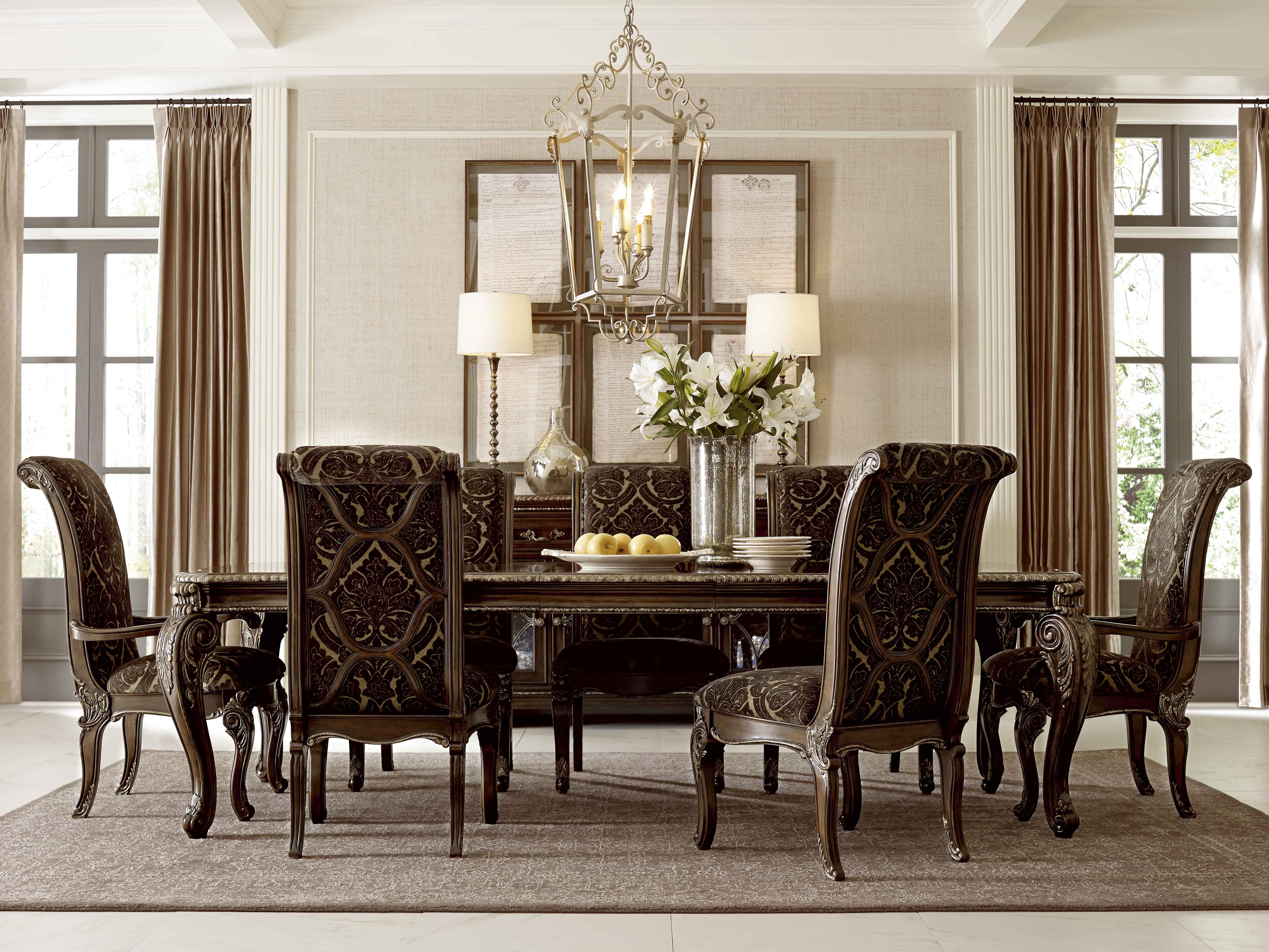 Formal dinner table decorations gables leg dining table with upholstered back chairs by art