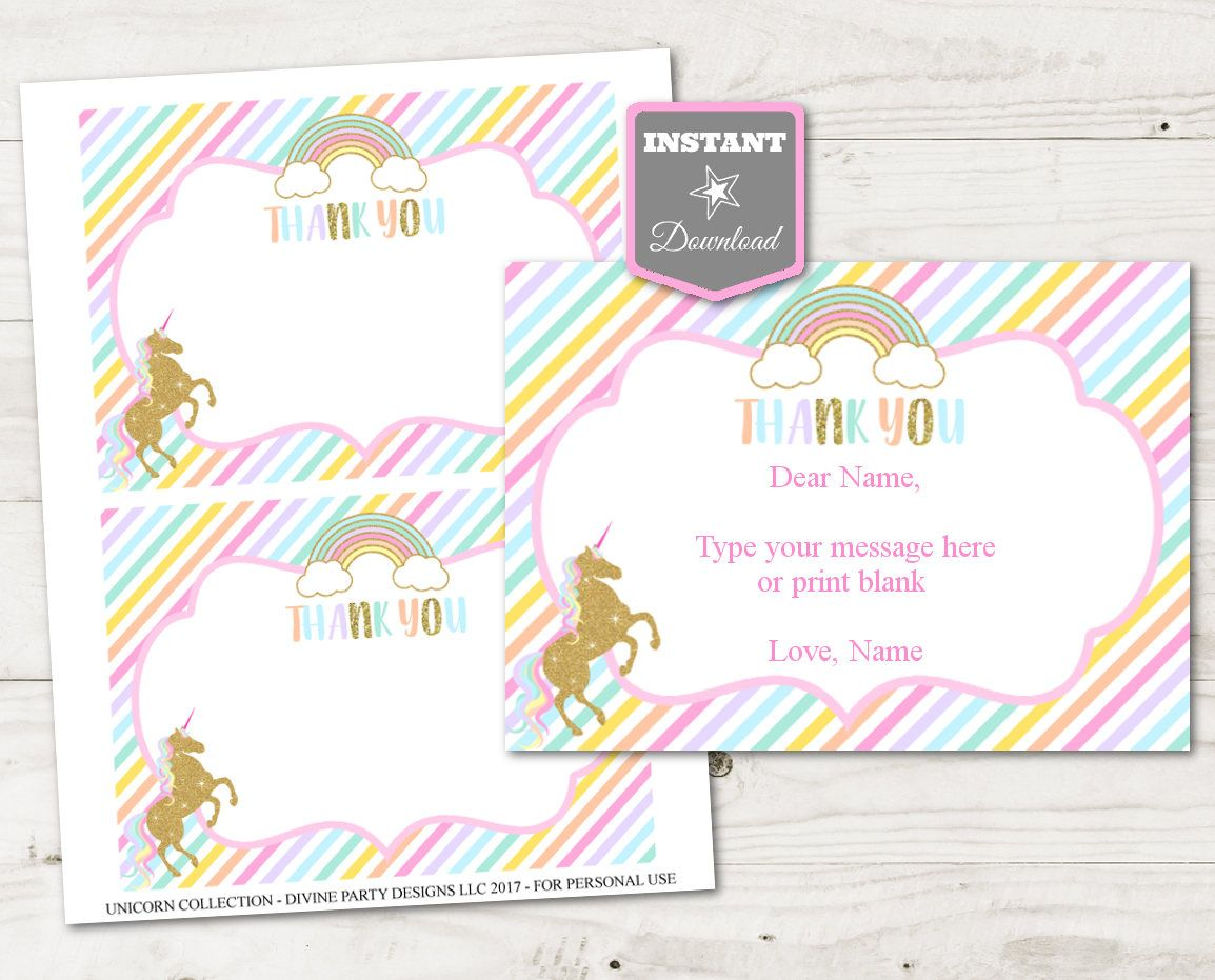 Instant Download Unicorn Printable 5x7 Editable Thank You Card