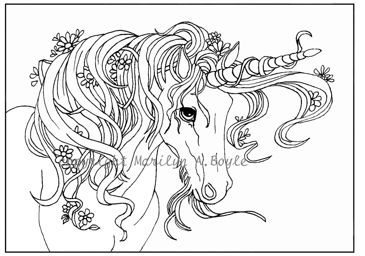 ADULT COLORING Page digital download Unicorn от OriginalSandMore ...