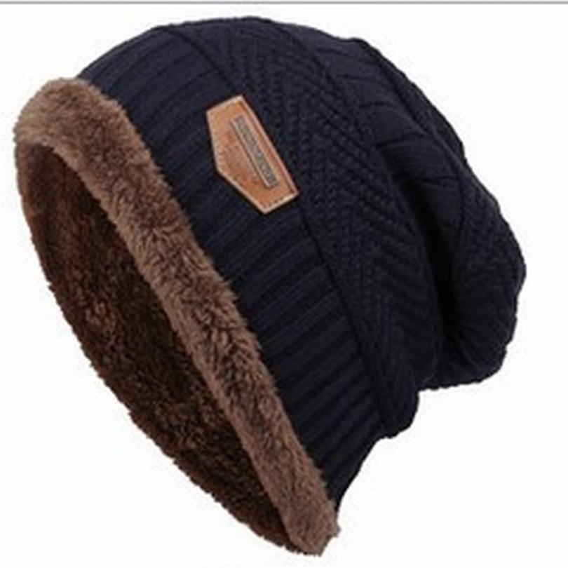 Unisex Men Women Knitted Baggy Hat Warm Ski Cap Beanie Hat Soft Wool Stretch Cap