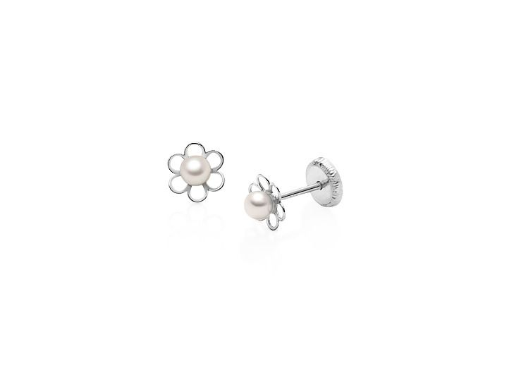 4d84fc4d0 Petals and Pearls Baby/Children's Earrings, Screw Back - 14K White Gold -  14K White Gold Earrings - Earrings - Children's & Baby Jewelry