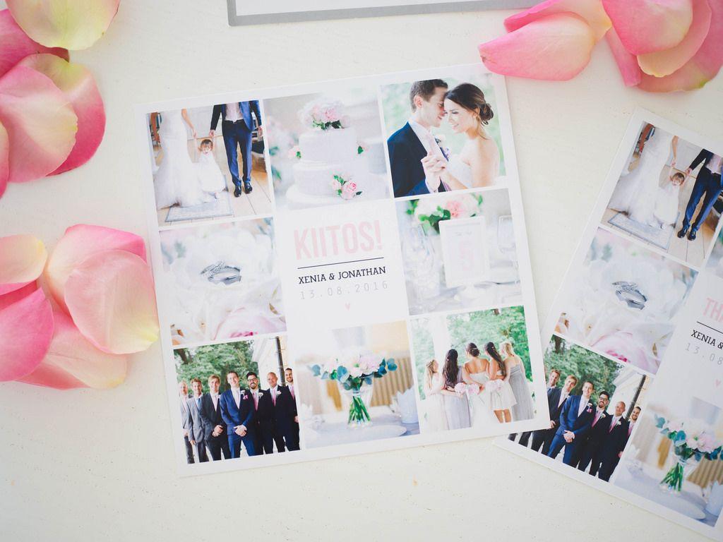 Custom mada wedding thank you cards by www.makeadesign.fi / Photo: Xenia´s Day http://anna.fi/xeniasday/haakutsut-haiden-paperituotteet/ / Häät - kiitoskortit