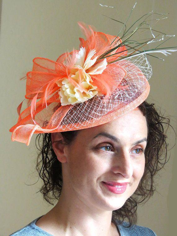 Coral salmon fascinator ivory flower fascinator hat veil netting wedding hat  ESTI CORAL b8950921d6a