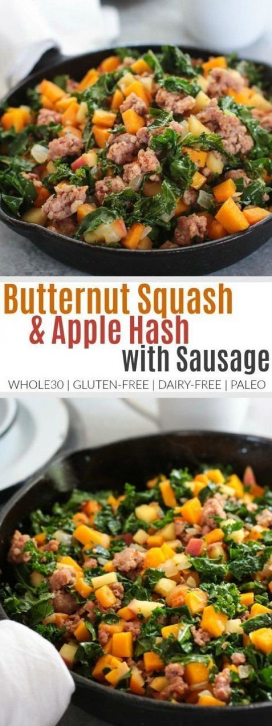 Your favorite recipe source for healthy food [Paleo, Vegan, Gluten free] Butternut Squash and Apple Hash with Sausage | healthy breakfast recipes | breakfast recipes healthy | whole30 approved gluten free paleo dairy free