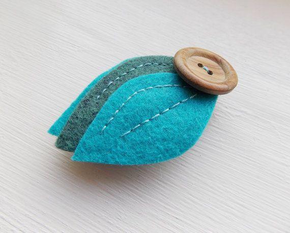 Fieltro Clip Hoja de pelo verde azul de corte de la mano y de la mano cosida Accesorio para el pelo