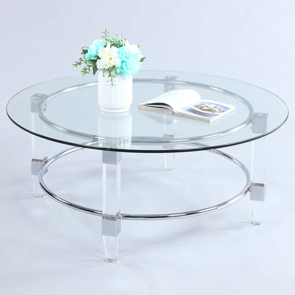 Chintaly 4038 Round Cocktail Coffee Table Chrome Acrylic