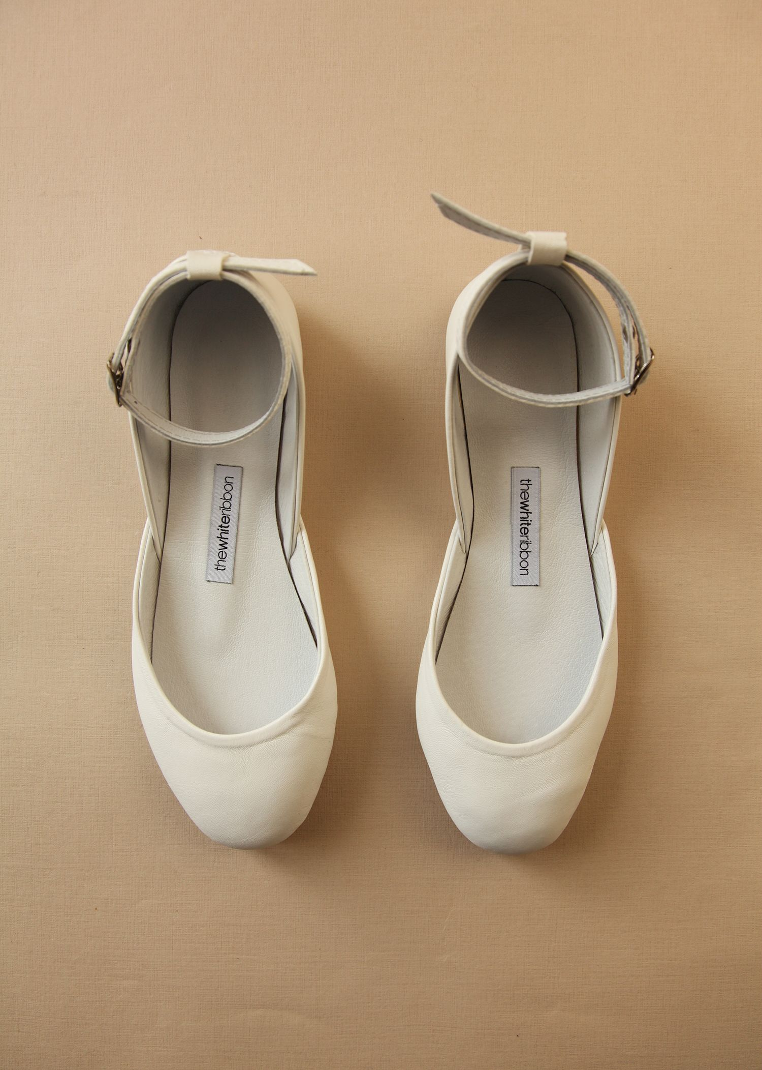 736ebd5eb4c Creamy White Mary Jane Leather Ballet Flats. Perfect for your ...