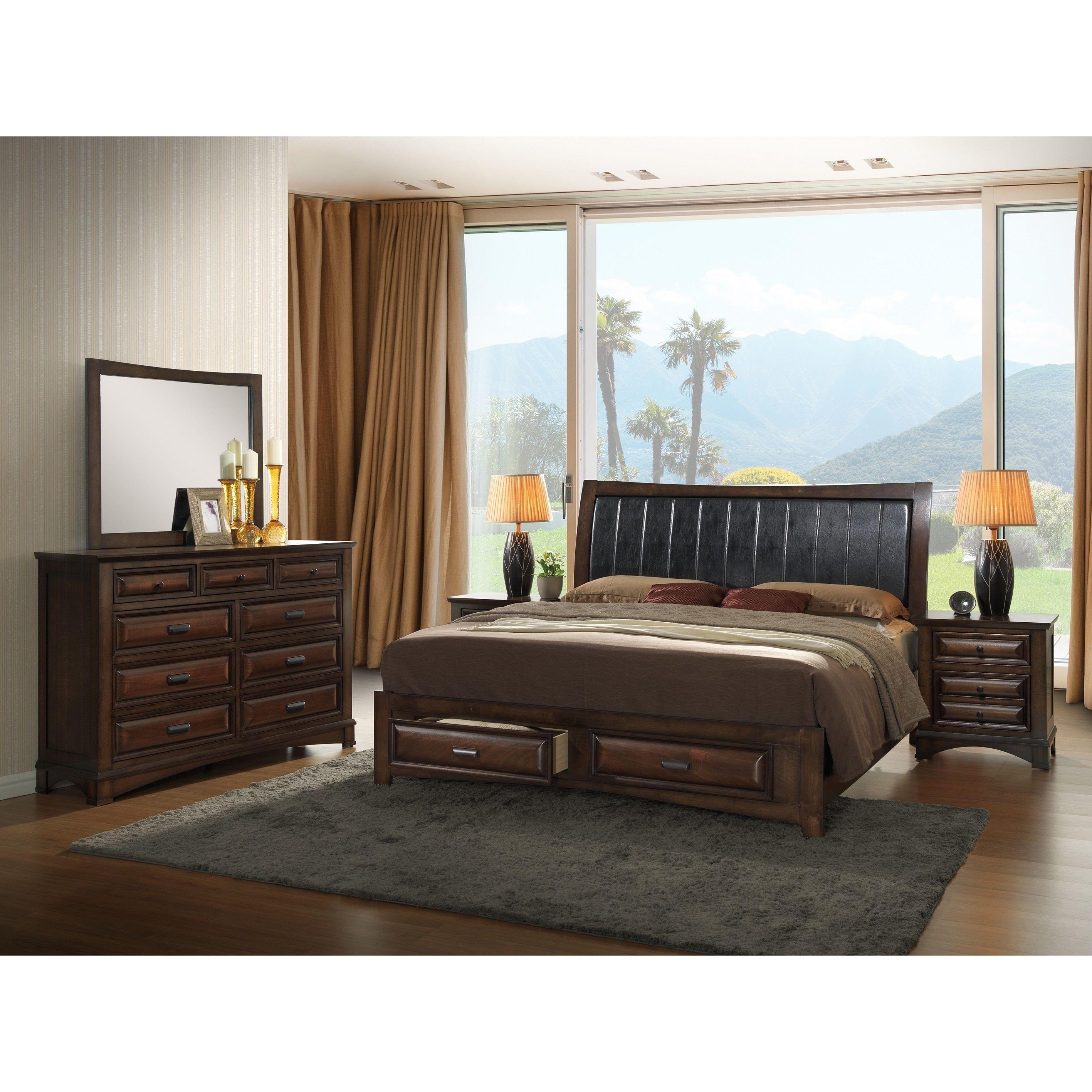 broval light espresso wood king size storage bedroom set king
