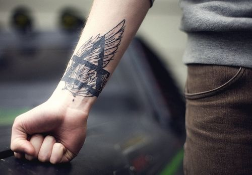 alchemy symbol tattoo arm hand wrist lower arm wing male man