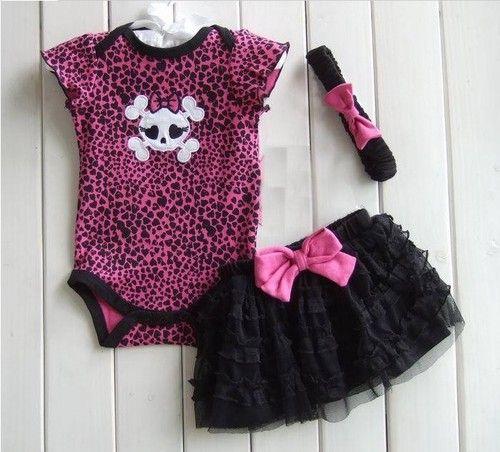 CLOTHES BABY GIRL GIRLY SKULL GOTH HALLOWEEN BLACK PINK VEST,BODYSUIT,GIFT