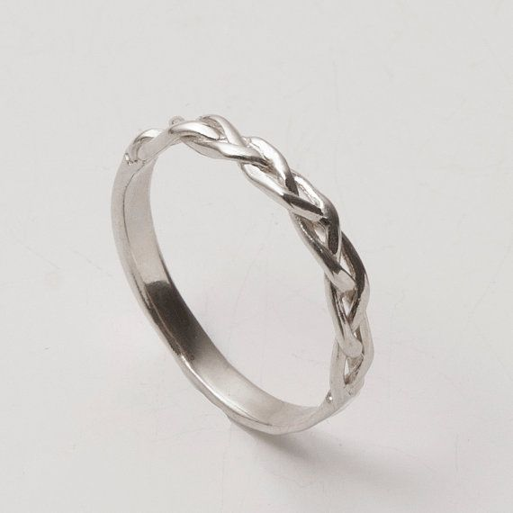 Braided Ring No 4 18K White Gold Stackable Ring by Doron Merav