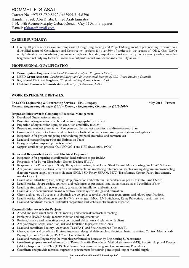 Engineering Project Manager Resume Elegant Cv Engineering Manager Lead Electrical Eng Rfsiasat