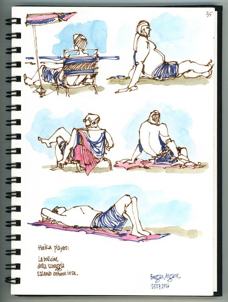 Algarve 5 Human Sketch Drawing Lessons Beach Illustration