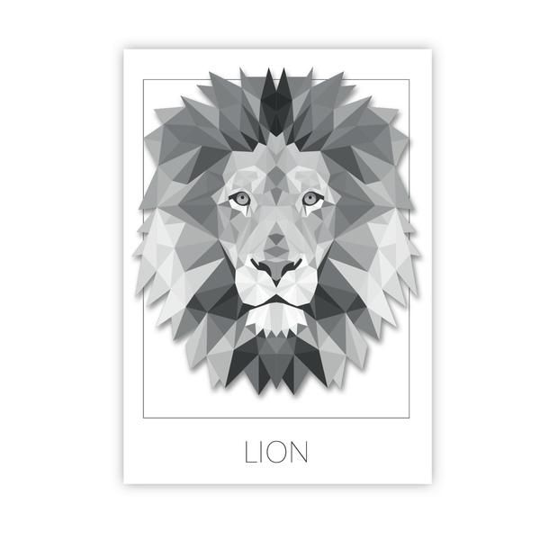 Vector Illustration Of A Colorful Origami Lion