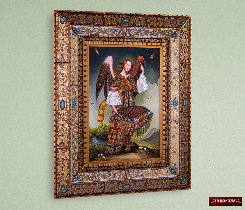 Marco de Vidrio pintado estilo Cajamarquino con Cuadro de pintura ...