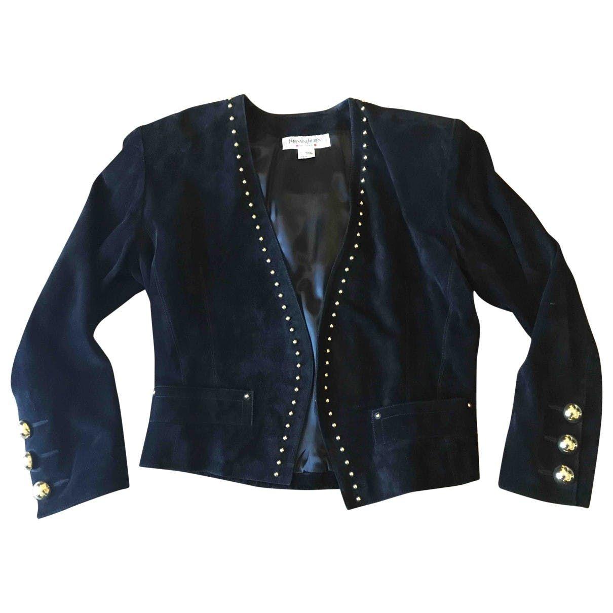 c4b9c45a991 Short vest Yves Saint Laurent Black size 40 FR in Suede - 3479830