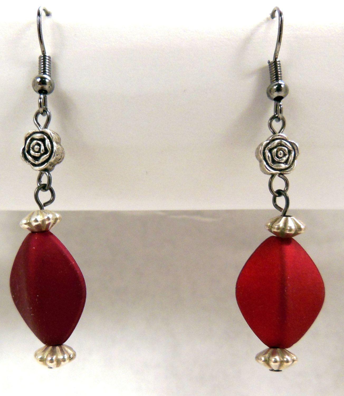 Handmade Satiny Red Acrylic Beaded Dangle Earrings with Silver Rose Bead. $10.00, via Etsy.