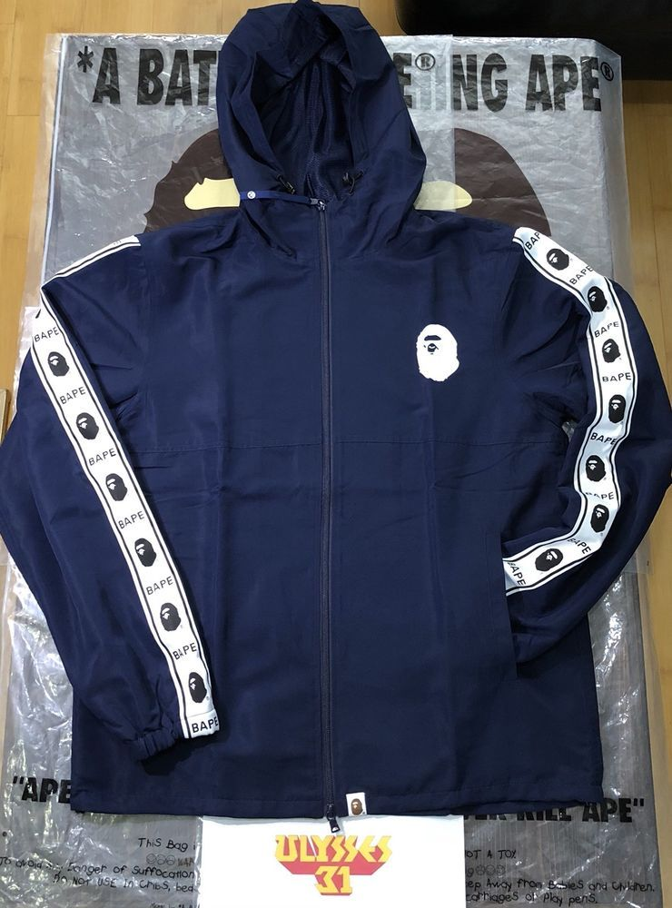 dbc9d07018e7  BAPE  HOODIE   A BATHING APE Tape Line Track Jacket 100% Authentic  BAPE   TrackJacket