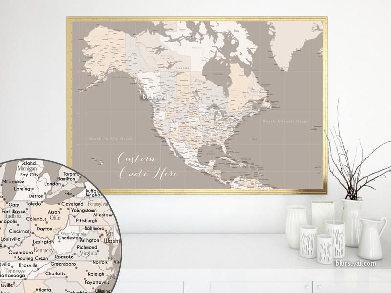 Custom quote highly detailed North America printable with cities