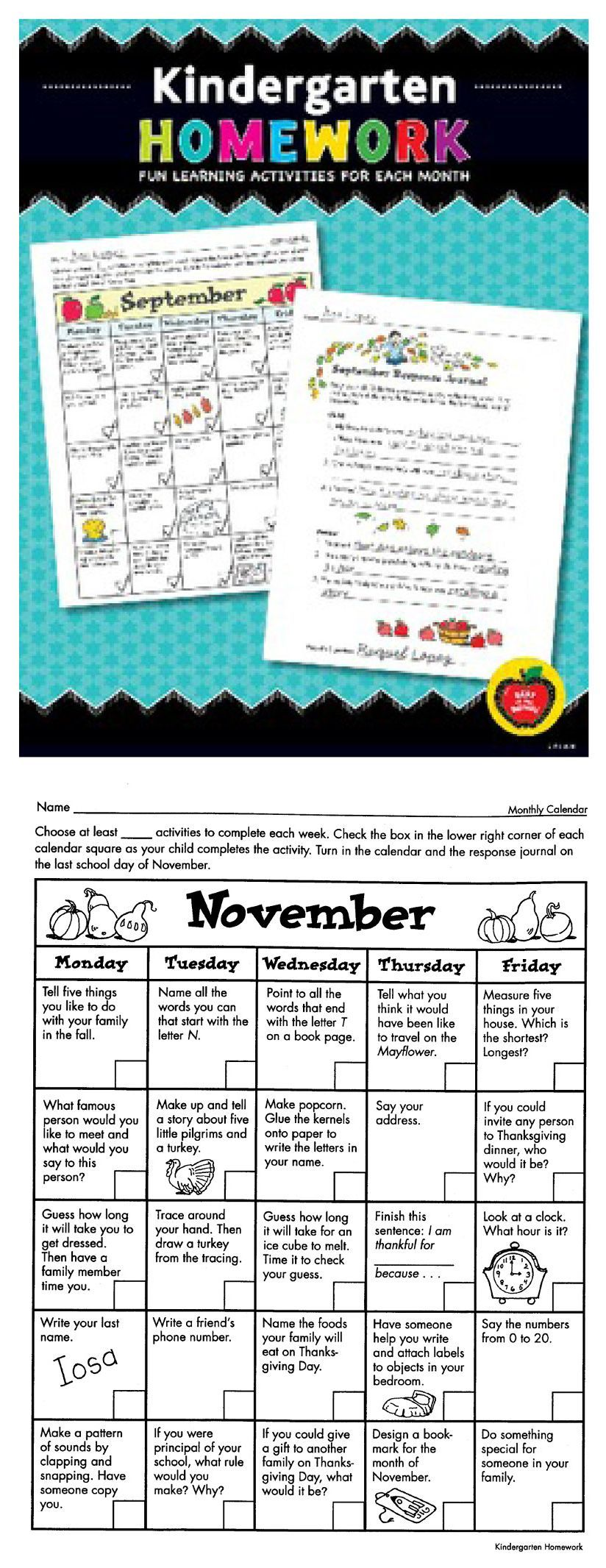Kindergarten Calendar Activities : Kindergarten homework fun learning activities for each