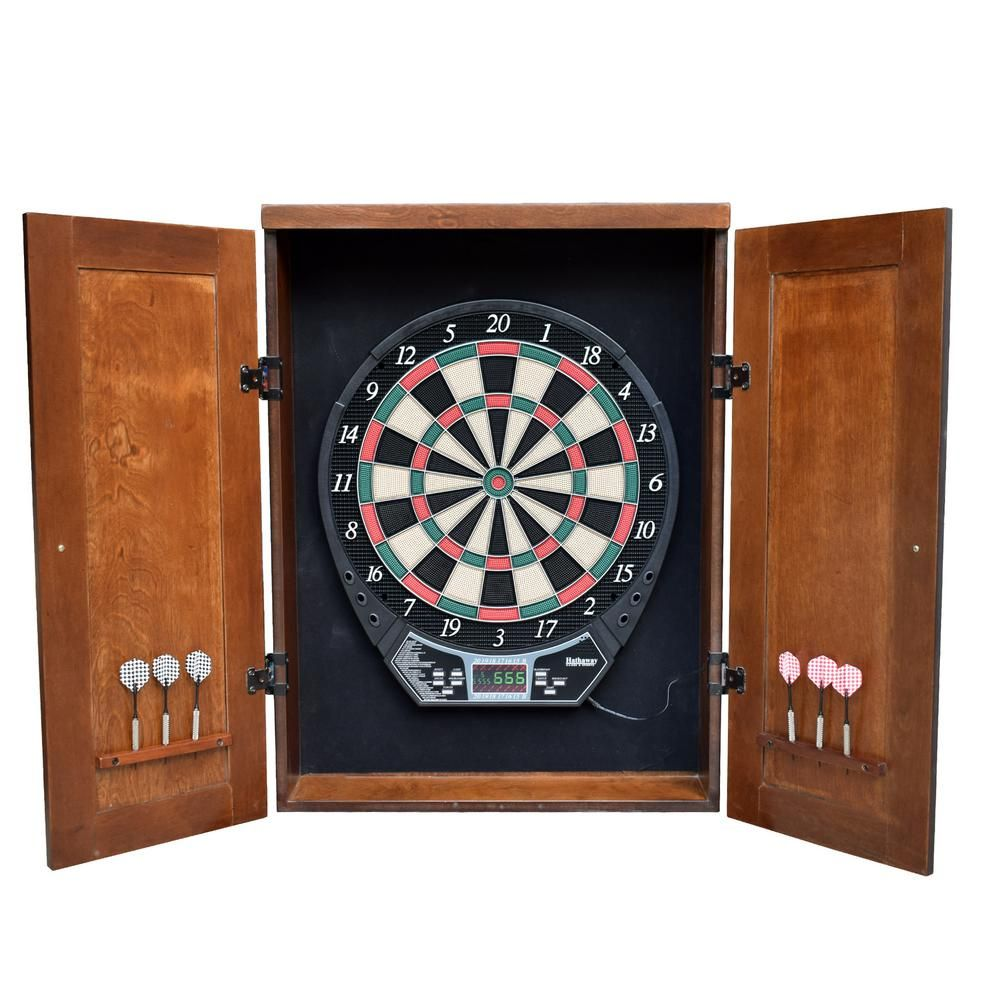 Hathaway Brookline Electronic Dartboard Cabinet Set In Walnut Finish Electronic Dart Board Electronic Dart Board Cabinet Dart Board Cabinet