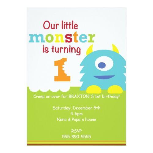 Little Monster Birthday Invitations