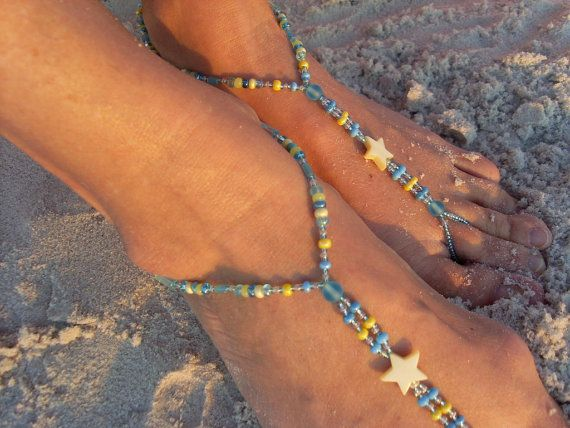 Czech Feet Beaded Yellow Stars Foot Jewelry beach wedding foot