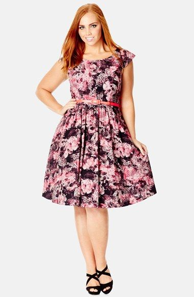 City Chic Winter Rose Print Fit & Flare Dress Plus Size