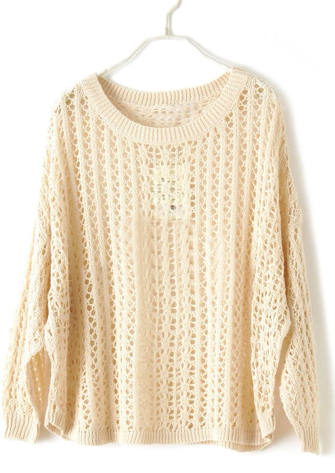 Apricot Batwing Long Sleeve Hollow Pullovers Sweater ... 9710fed16c81
