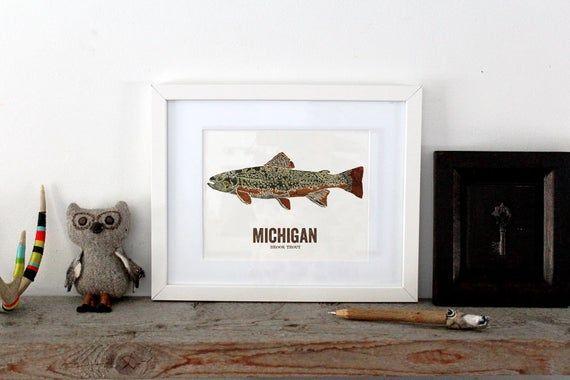 Michigan State Fish Map art Nature Outdoor art Vintage Map art Art print Fish Wall decor Fish