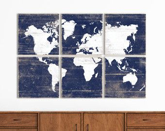 XL Distressed World Map Print Collection by RightGrain