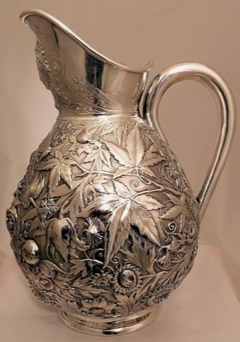 Early Durgin Repousse  Sterling Pitcher 1875, with Floral Montifs, Concord New Hampshire