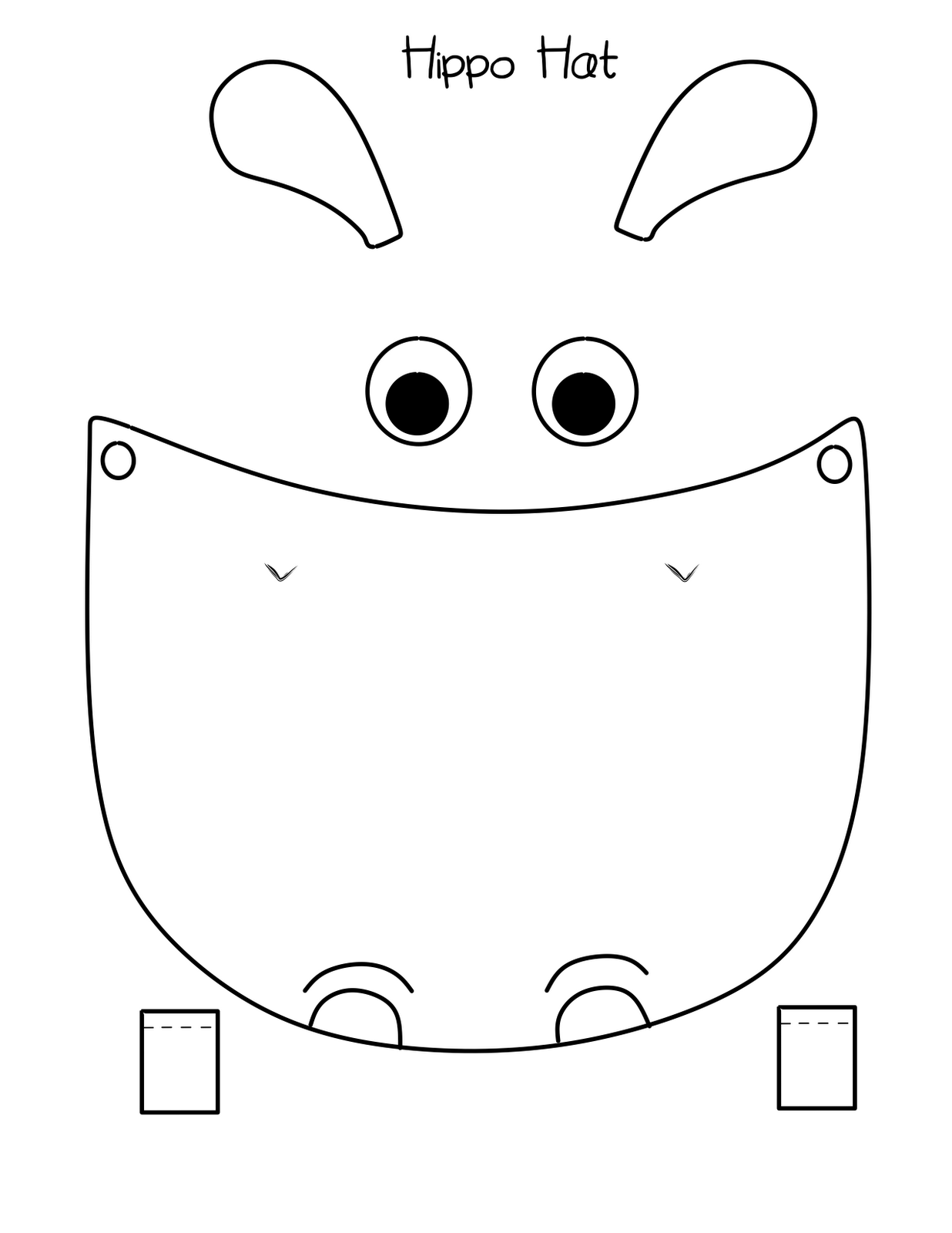 bust out your crayons Hippo Hat Free printable