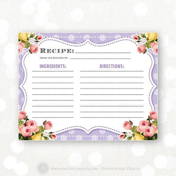 Printable Recipe Card for Bridal Shower - Lilac retro polka dots - recipe card