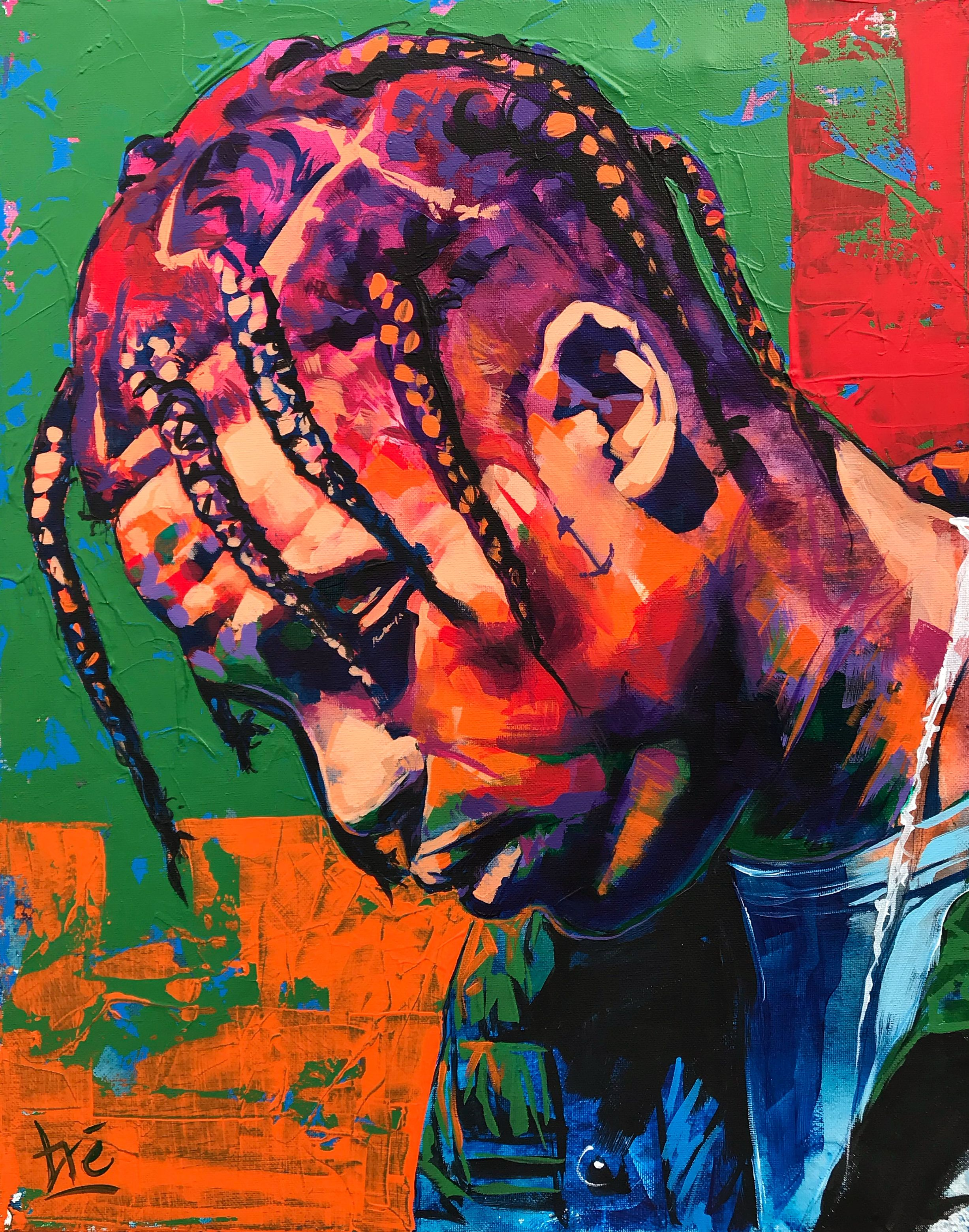Travis Scott Acrylic Painting Astroworld Done by Tré