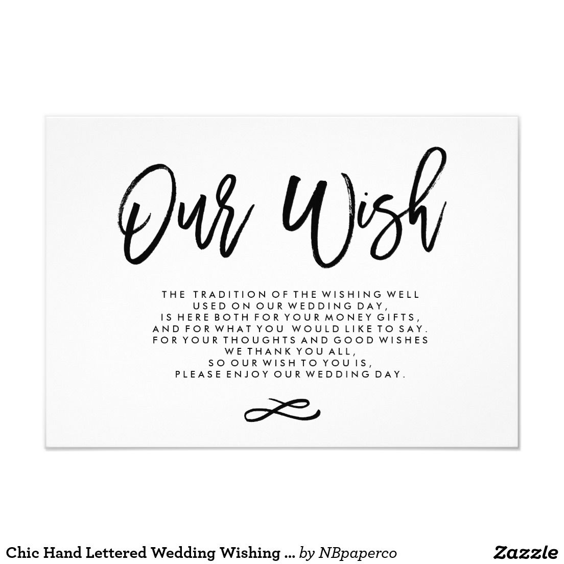 Chic Hand Lettered Wedding Wishing Well Enclosure Card
