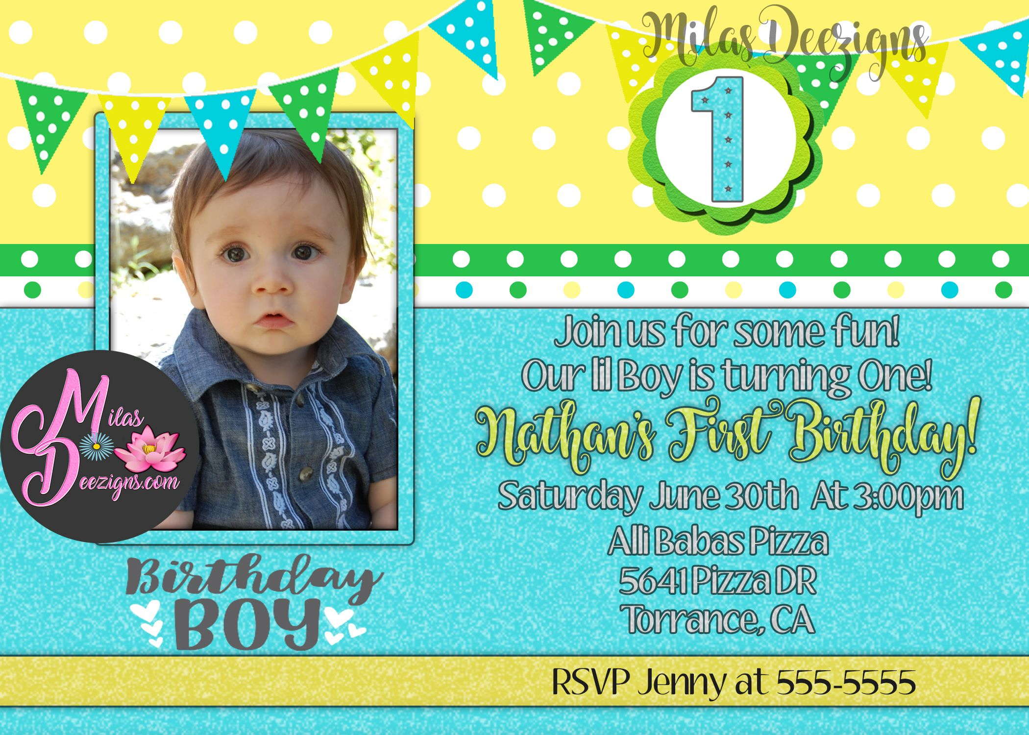 Baby Boy S First Birthday Invitation With Photo Available Online At