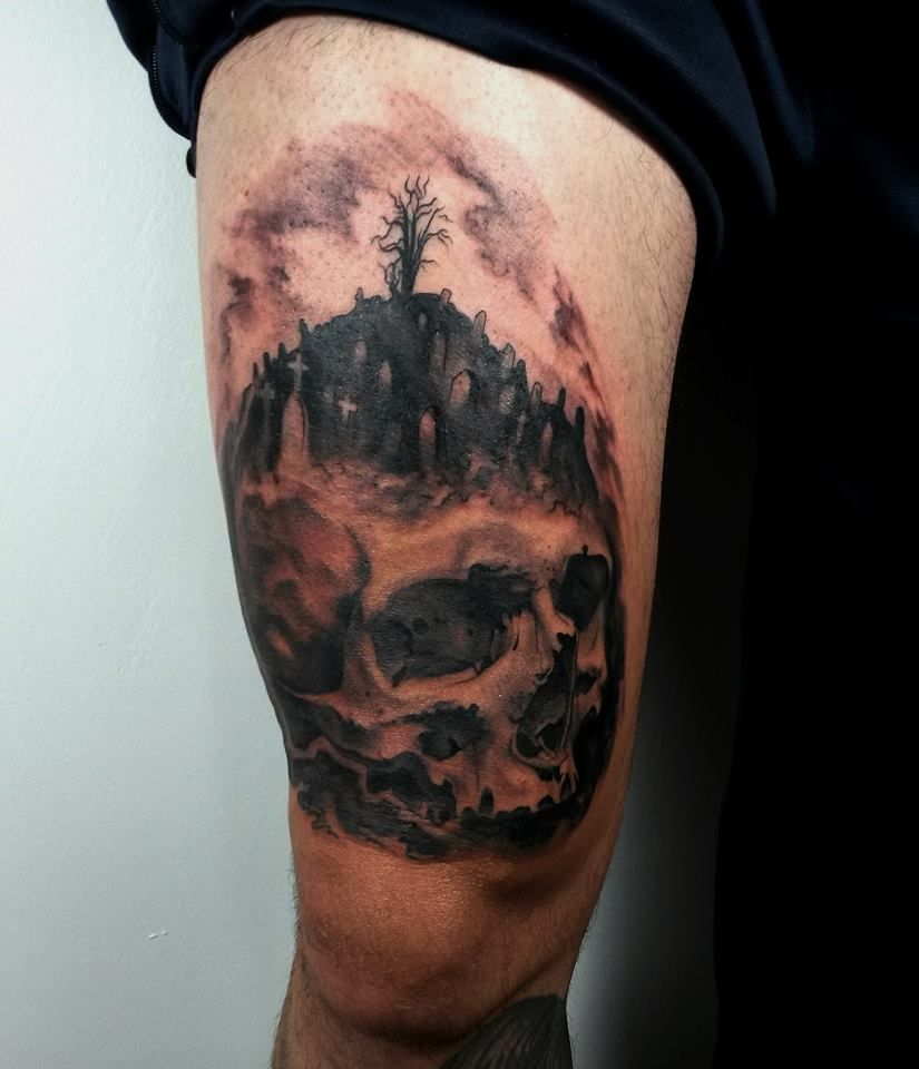 Cemetery and graveyard tattoo on half sleeve - Tattoo Cemetery Tattoo Ideas Graveyard