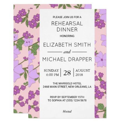 Rehearsal dinner flowers blossoms purple card wedding rehearsal dinner flowers blossoms purple card wedding invitations cards custom invitation card design marriage party wedding invitations pinterest stopboris Image collections