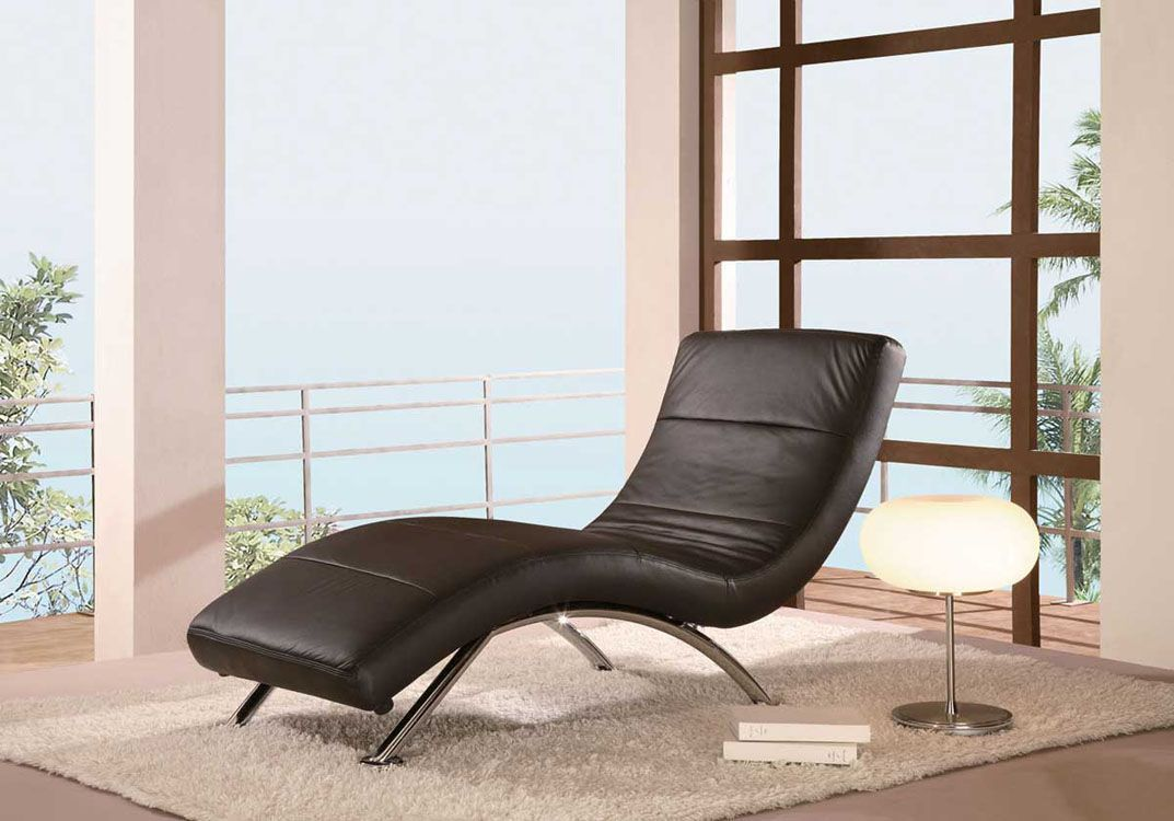 Black Or White Leather Armless Love Chaise Contemporary Chaise