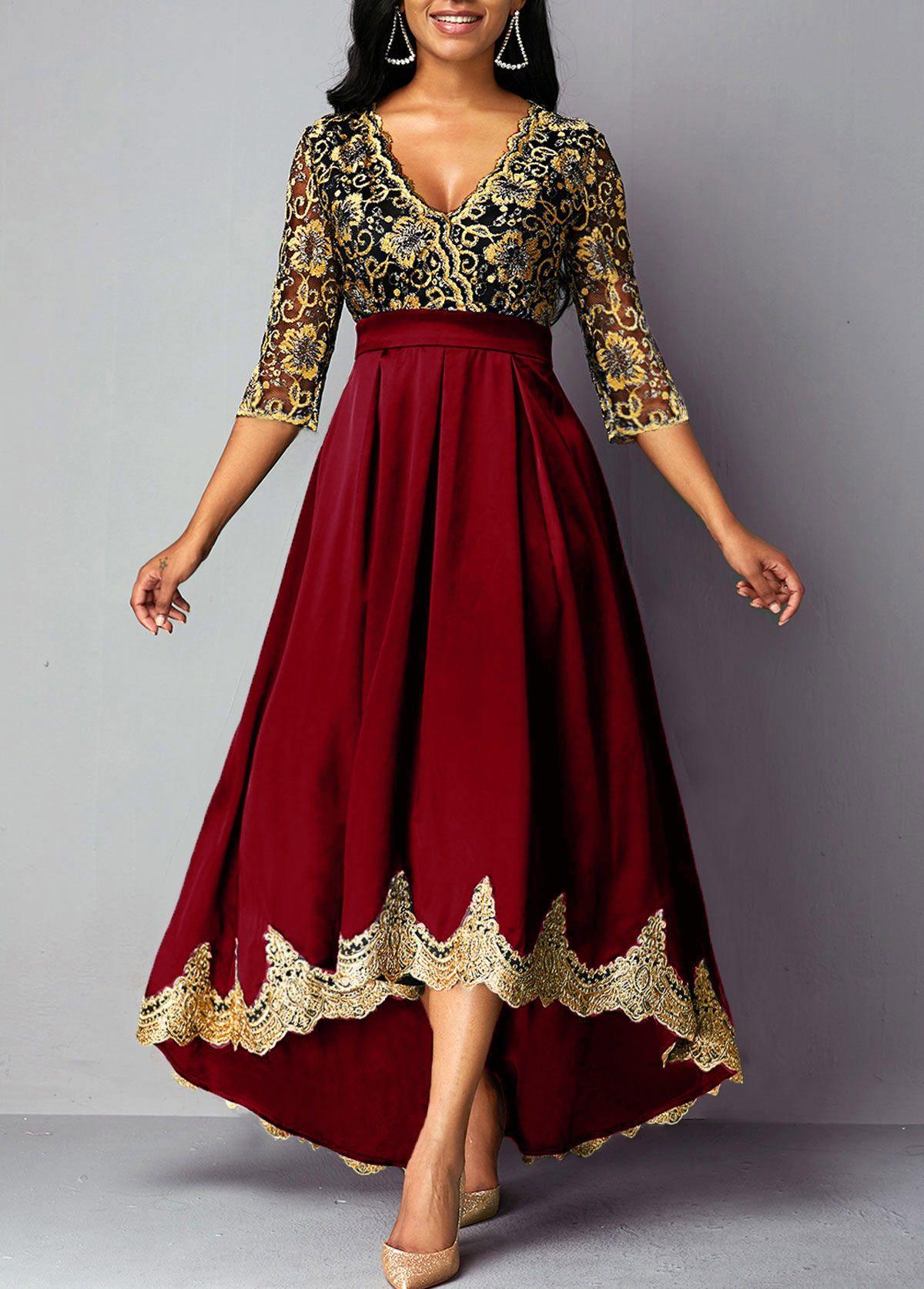 Lace Patchwork Three Quarter Sleeve High Low Dress Rosewe Com Usd 41 87 Lace Panel Dress High Waist Dress Three Quarter Sleeve Dresses [ 1674 x 1200 Pixel ]