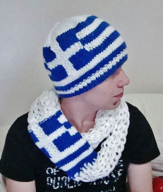 Greek Flag Scarf   Beanie Hat Set for Men or women by earflaphats ... d1db37ef95d