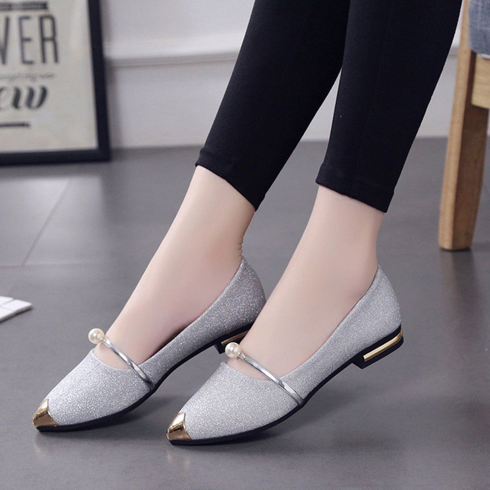 Women Spring Casual Pointed Toe Square Heel Shoes Low Heel Flat Shoes Fashion Girly Shoes Womens High Heels Outfit Shoes [ 1000 x 1000 Pixel ]